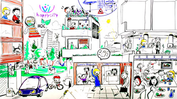 happy city whiteboard & fresque